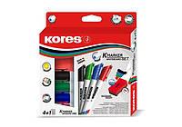Маркер для доски Набор маркеров для белых досок  1-3 мм  (4шт+ губка)  Kores K20863