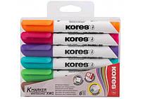 Маркер для доски Набор маркеров для белых досок 1-3 мм  (6 цветов) Kores K20802