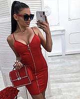 Платье женское короткое из джинса на молнии облегающее (К27681)