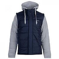 Куртка Lee Cooper Mixed Fabric Padded Jacket Navy/Mid Grey M - Оригинал