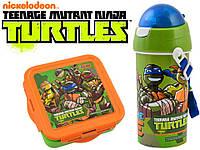 """Набор """"Ninja Turtles - Черепашки ниндзя"""". Бутылка с трубочкой и Ланч бокс (ланчбокс)"""