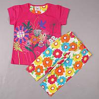 """Детский костюм для девочки лето: футболка/шорты """"Цветочки""""/ 92 см, 104 см (1.5-2 года; 3-4 года)"""