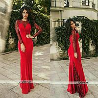 Платье женское вечернее бархатное Шлейф красное