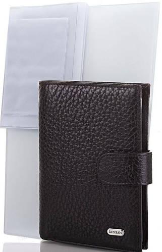 Мужской удобный кожаный кошелек с органайзером для документов DESISAN (ДЕСИСАН) SHI101-011 черный