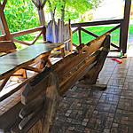 Стол деревянный из акации и ореха с лавками + стиль рустик под заказ, фото 7