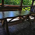 Стол деревянный из акации и ореха с лавками + стиль рустик под заказ, фото 6