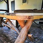 Стол деревянный из акации и ореха с лавками + стиль рустик под заказ, фото 5