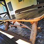 Стол деревянный из акации и ореха с лавками + стиль рустик под заказ, фото 4