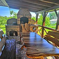 Стол деревянный из акации и ореха с лавками + стиль рустик под заказ
