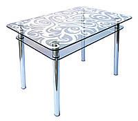 Кухонный стол из стекла КС-1 пескоструй