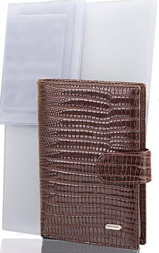 Мужской замечательный кожаный кошелек с органайзером для документов DESISAN (ДЕСИСАН) SHI101-142 коричневый