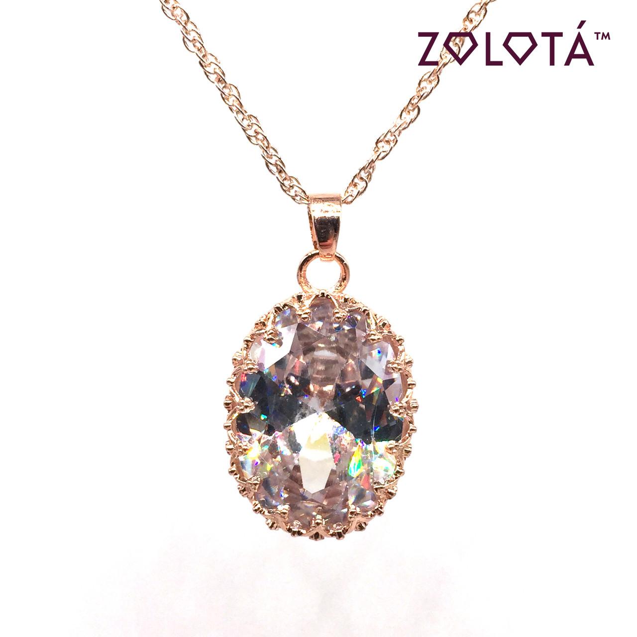 Підвіска на ланцюжку з білим фианитом (куб. цирконієм), з медичного золота, в позолоті, ЗЛ00165 (1)