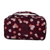 Органайзер для нижнего белья с рисунком Genner бордовый в цветы 01051/02, фото 1