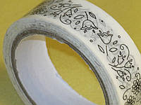 Скотч белый с принтом декоративный, фото 1