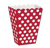 Коробочка для попкорна красная в горошек
