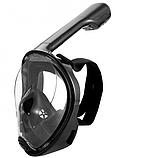 Маска для плавания ныряния снорсклинга Free Breath чёрная синяя зеленая полнолицевая, фото 3