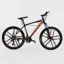 Спортивный велосипед ченый с оранжевым CORSO SPIDER 26 дюймов 21 скорость алюминиевая рама 17дюймов, фото 2