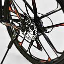 Спортивный велосипед ченый с оранжевым CORSO SPIDER 26 дюймов 21 скорость алюминиевая рама 17дюймов, фото 6