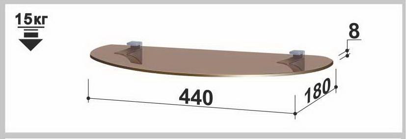 Полка стеклянная Gamma PL6 O (180х440х8) (овальная прозрачная, графит, бронза)
