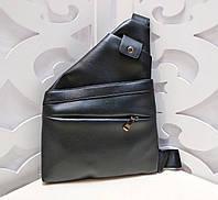 484896abc593 Мужская барсетка кросс-боди сумка через плечо мессенджер экокожа черная