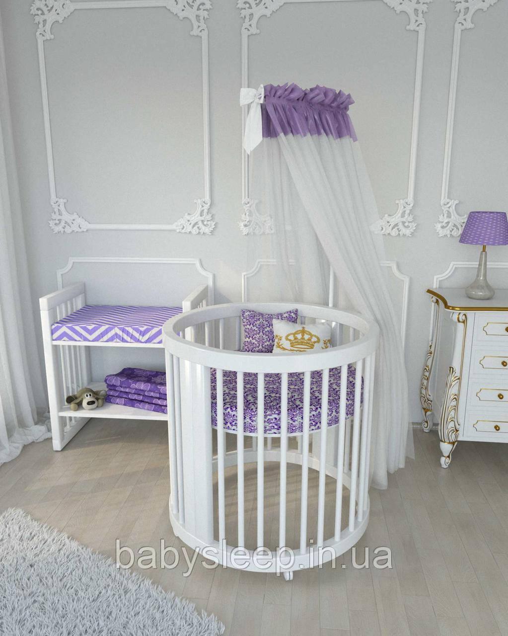 Круглая кроватка трансформер Бук 12в1 BabySleep + укачивание