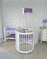 Круглая овальная кроватка трансформер Бук 12в1 BabySleep + укачивание
