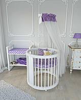 Овальная кроватка трансформер Бук 12в1 BabySleep + укачивание