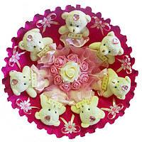 Букет из 7 мягких игрушек Мишки малиновый