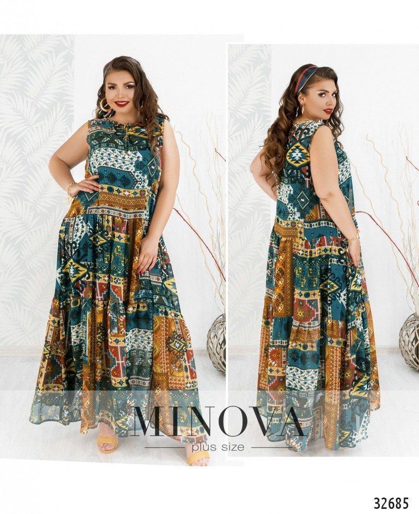 Летнее платье в пол  большой размер ТМ Минова р.50-56