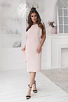 Красивое платье   Ткань  креш  с,м,л,   Цвета - молочный, персик, темно- синий, фото 1