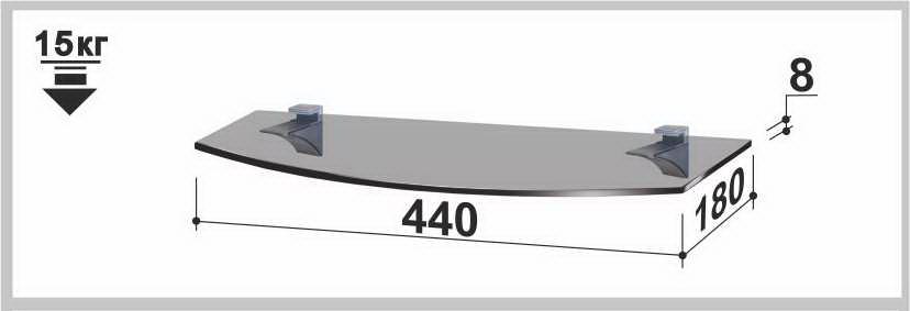 Полка стеклянная Gamma PL6R (180х440х8) (радиусная прозрачная, графит, бронза)
