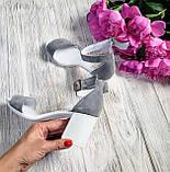 Элегантные женские замшевые босоножки (серый), фото 4