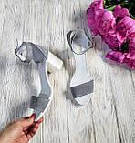 Элегантные женские замшевые босоножки (серый), фото 3