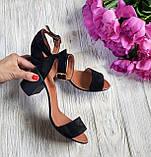 Элегантные женские замшевые босоножки (черный), фото 4