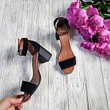 Элегантные женские замшевые босоножки (черный), фото 2