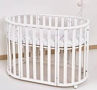 Кроватка Колысаны овальное 110х60 /кр/ белый, фото 1
