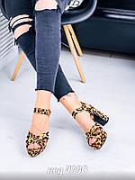 Модные женские леопардовые босоножки на толстом каблуке и платформе