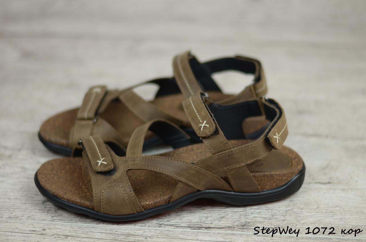 Мужские кожаные сандалии, босоножки StepWey  (Реплика)  (Код: StepWey 1072 кор) ► [40,41,42,43,44,45]