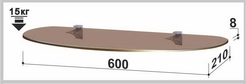 Полка стеклянная Gamma PL7 O (210х600х8) (овальная прозрачная, графит, бронза)