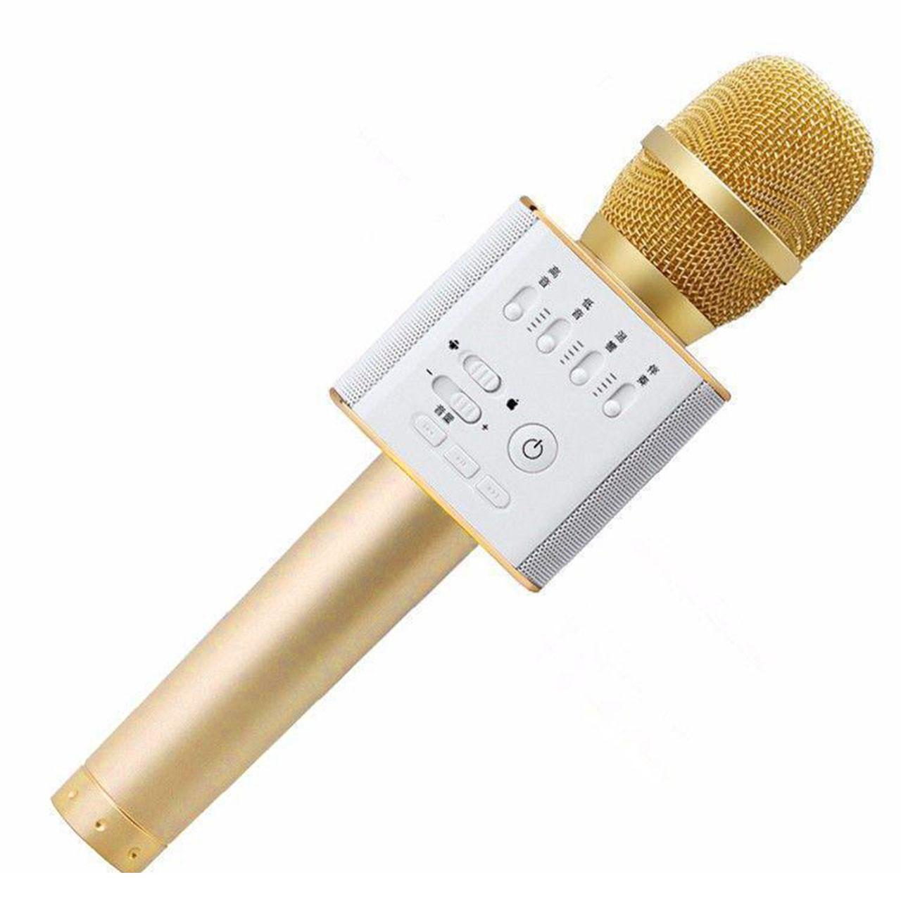 ✓Универсальный микрофон Micgeek Q9 Золотистый USB порт караоке блютуз беспроводной