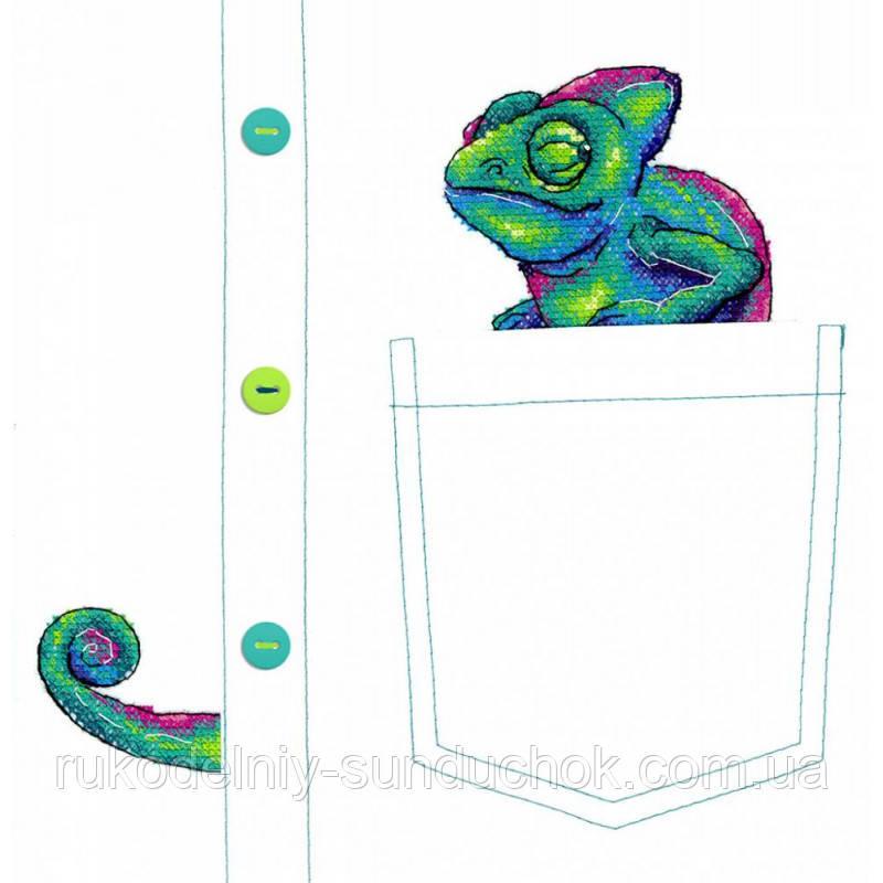 """Набор для вышивки на водорастворимой канве """"М.П.Студия"""" Любопытный хамелеон В-253 (на карман)"""