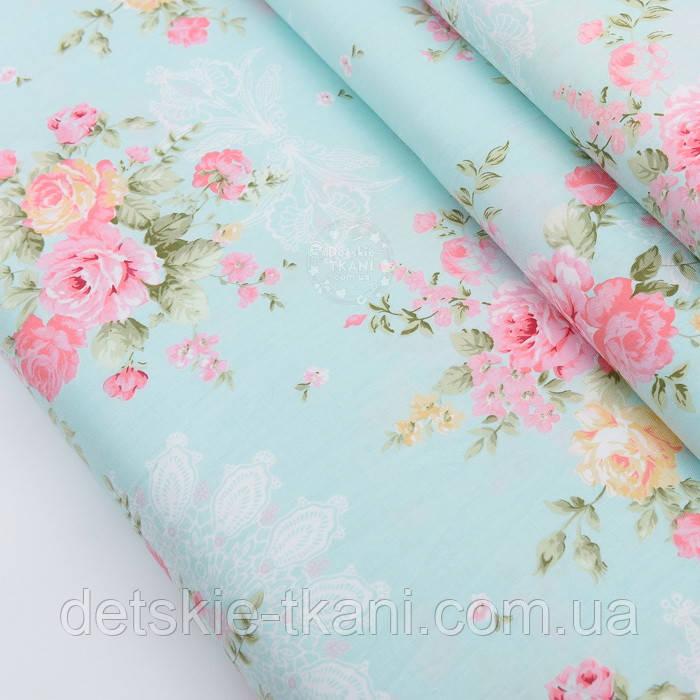 """Сатин ткань """"Кремово-розовые букеты с белым вензелем"""" на светло-бирюзовом, № 2265с"""
