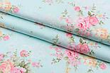 """Сатин ткань """"Кремово-розовые букеты с белым вензелем"""" на светло-бирюзовом, № 2265с, фото 2"""