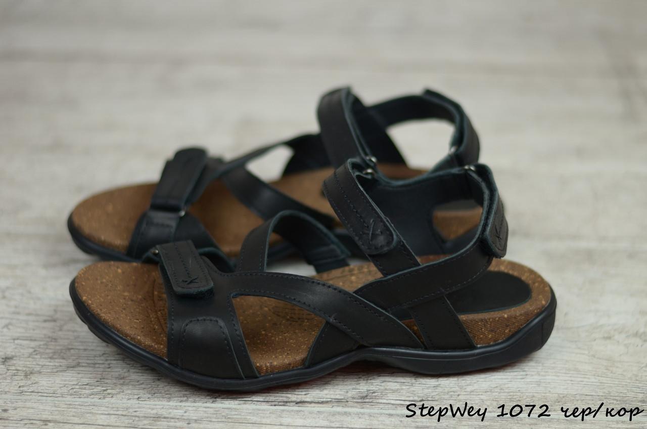 Мужские кожаные сандалии, босоножки StepWey (Реплика)  (Код: StepWey 1072 чер/кор) ► [40,41,42,43,44,45]