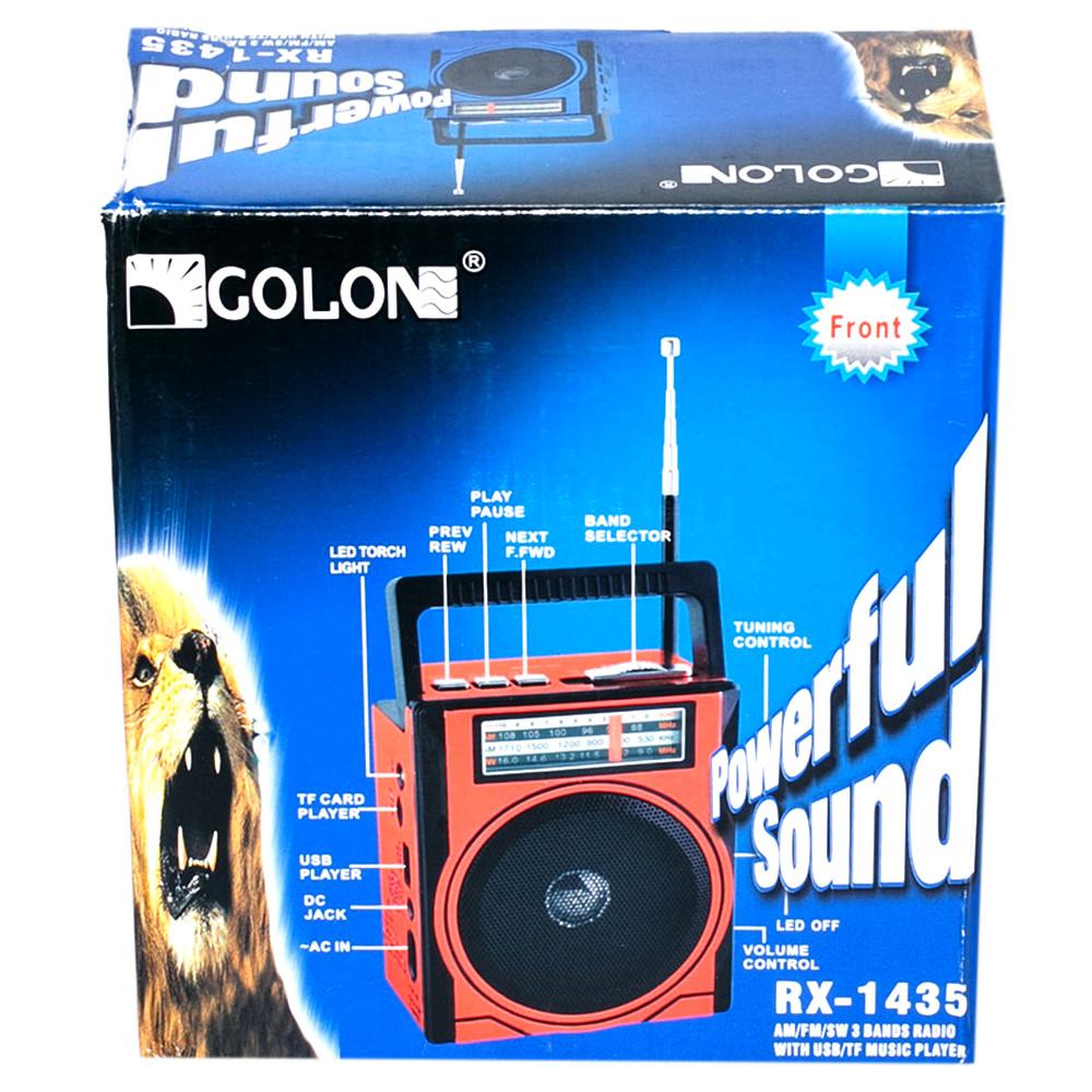 Радиоприемник GOLON RX 1435, FM радио, MP3, USB, c фонариком,аккумуляторный,слот для карт памяти.
