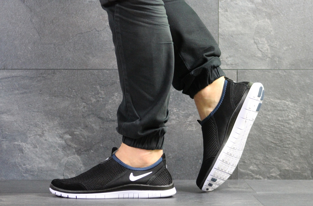 Летние кроссовки Nike Free Run 3.0,черно-белые