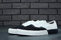Кеды низкие мужские черные с белым летние текстильные Vans Authentic Ванс Аутентик