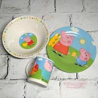 Набор посуды из 3-х предметов Свинка Пеппа, фото 1