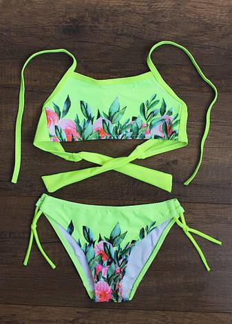 Цветочный раздельный купальник для девочек р.28-36, фото 2
