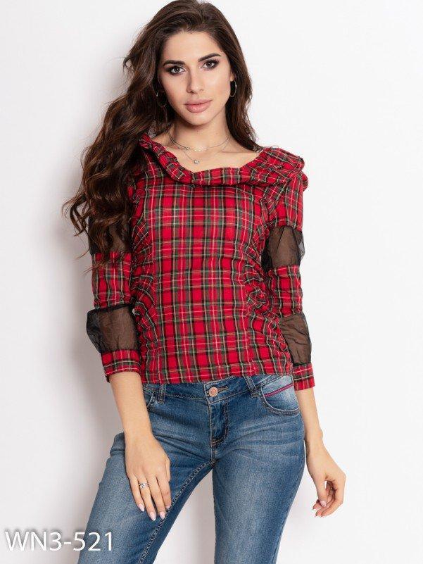 Красная клетчатая блуза с прозрачными вставками Код WN3-521_красный